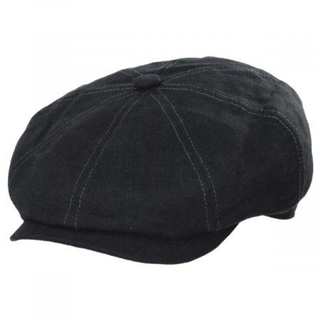 Black Linen Newsboy Cap