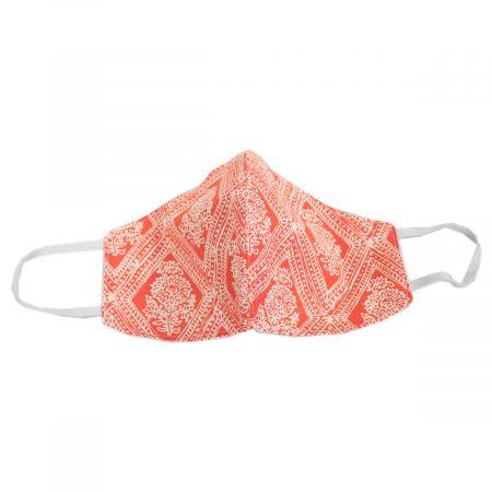 Village Hat Shop Red & White Floral Cotton Face Cover
