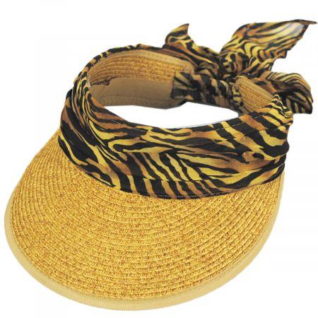 Jeanne Simmons Tiger Scarf Toyo Straw Visor