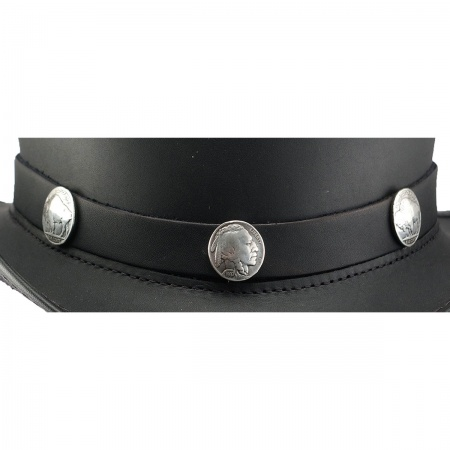 Three Nickel Leather Hat Band