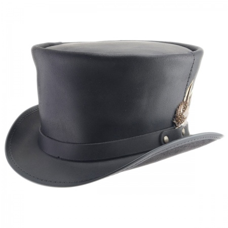 Head 'N Home Coachman Black Leather Top Hat