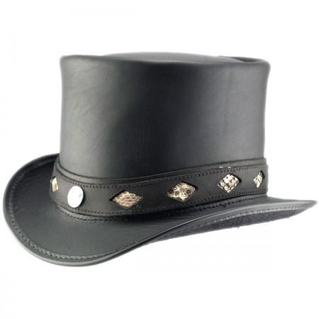 Head 'N Home Diamond Leather Top Hat