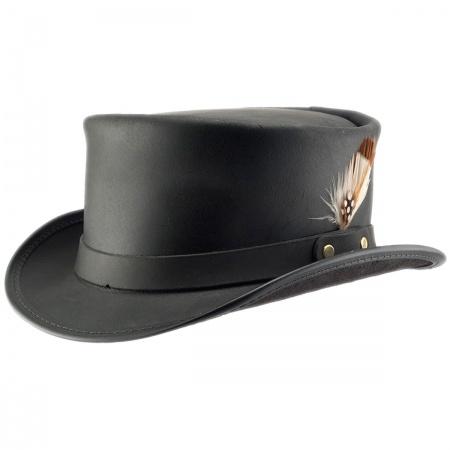 2e83cc3ddceec Leather Top Hat at Village Hat Shop