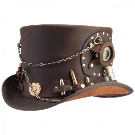 Head 'N Home Time Port Leather Top Hat