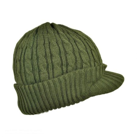 Jaxon Hats Cable Knit Acrylic Visor Beanie Hat
