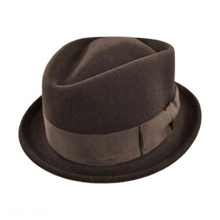 Crushable Wool Felt Diamond Crown Fedora Hat