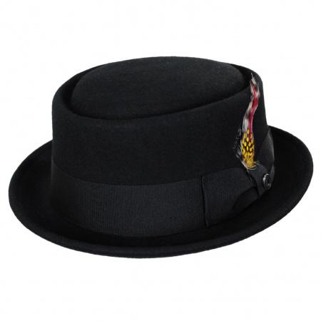 Jaxon Hats Crushable Black Wool Felt Pork Pie Hat