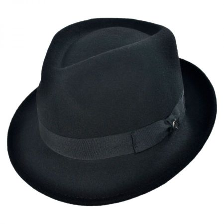 Detroit Wool Felt Trilby Fedora Hat - Black