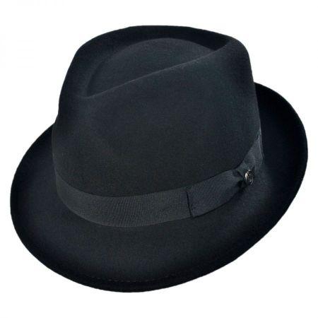Jaxon Hats Detroit Wool Felt Trilby Fedora Hat - Black
