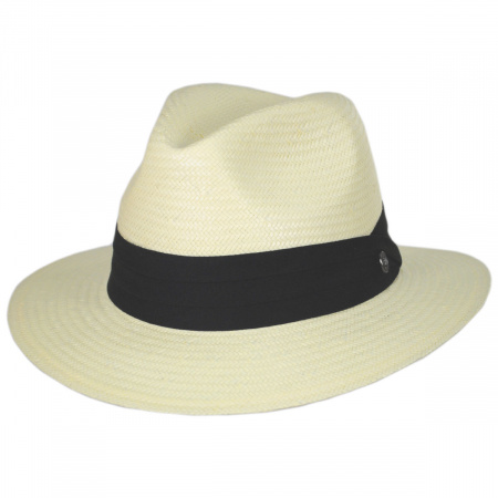 Jaxon Hats Toyo Straw Safari Fedora Hat - Black Band