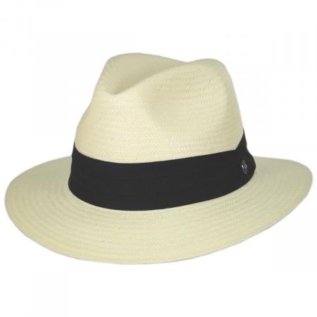 Jaxon Hats Toyo Straw Safari Fedora Hat - Black Band