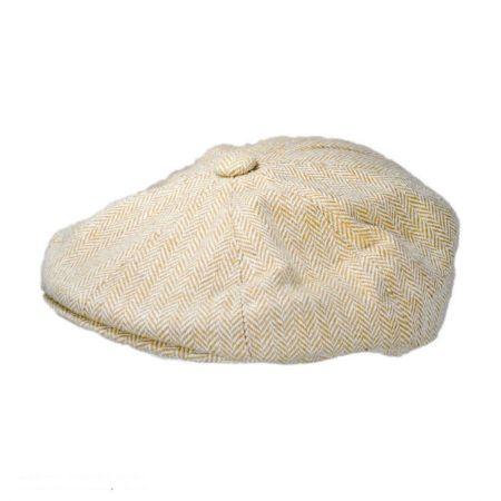 Jaxon Hats Herringbone Newsboy Cap (Ivory/Tan)