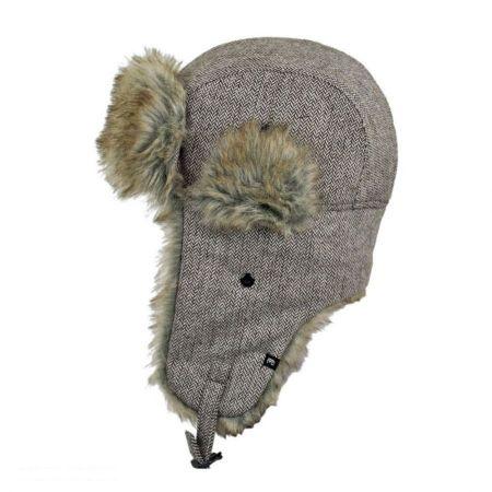 Herringbone Wool Blend Trapper Hat