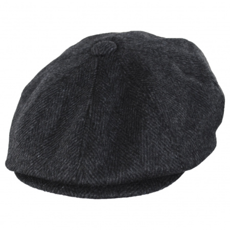 Large Herringbone Wool Blend Newsboy Cap