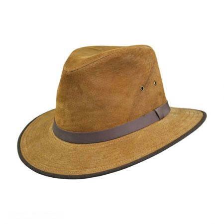 Jaxon Hats Nubuck Leather Safari Fedora Hat