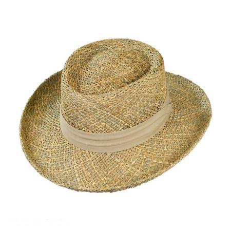 Jaxon Hats Pebble Beach Seagrass Straw Gambler Hat