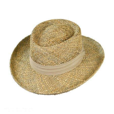Jaxon Hats Pebble Beach Seagrass Straw Gambler Hat