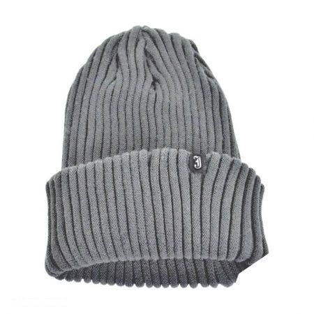 Slouchy Rib Knit Acrylic Beanie Hat