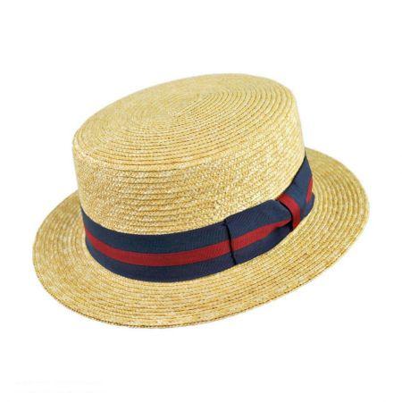 Jaxon Hats Striped Band Wheat Straw Skimmer Hat