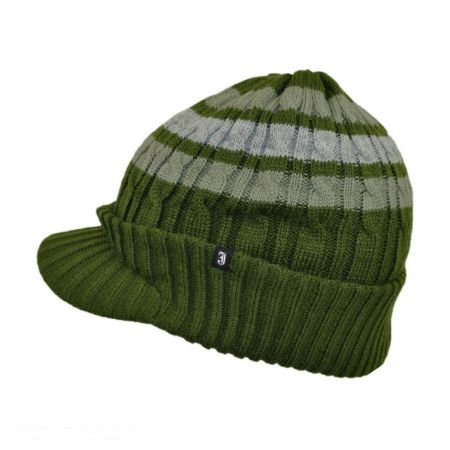 Striped Cable Knit Visor Beanie Hat