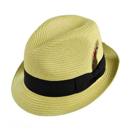 Jaxon Hats Summer Blues Toyo Straw Trilby Fedora Hat