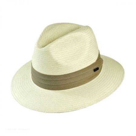 Toyo Straw Safari Fedora Hat - Khaki Band
