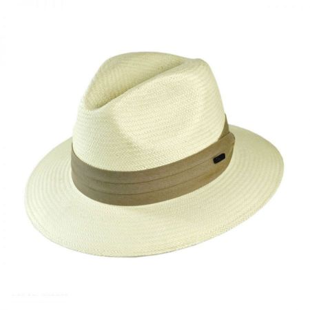 Jaxon Hats Toyo Straw Safari Fedora Hat - Khaki Band