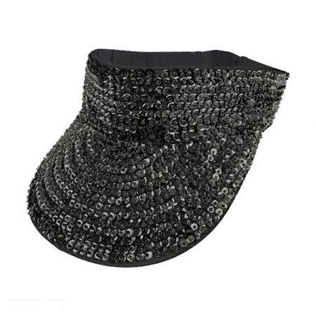 JC Sequins Black Sequin Visor