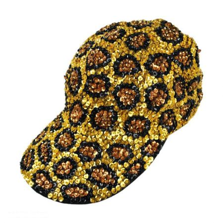 JC Sequins Sequin Baseball Cap - Leopard