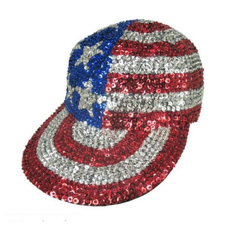 JC Sequins Stars and Stripes Sequin Baseball Cap