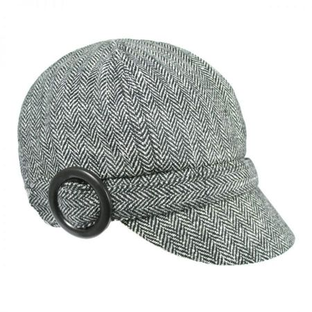 Jeanne Simmons Muffy Herringbone Wool Blend Newsy Cap - Black