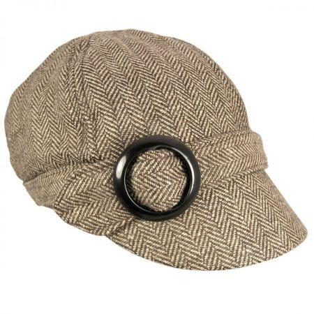 Jeanne Simmons Muffy Herringbone Wool Blend Newsy Cap - Brown