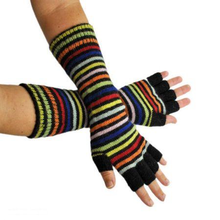 Rainbow Fingerless Knit Gloves