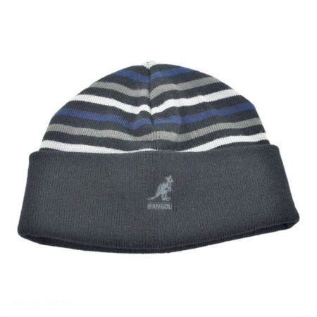 Stripe Pull On Beanie Hat