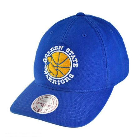 Mitchell & Ness Golden State Warriors NBA Vintage Slouch Leather Strapback Baseball Cap