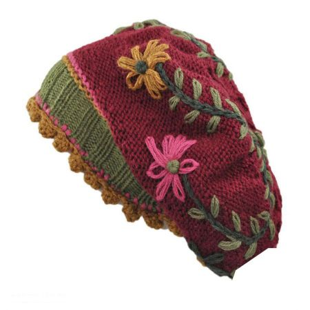 Peruvian Trading Company Flowers and Vine Beret - Wine