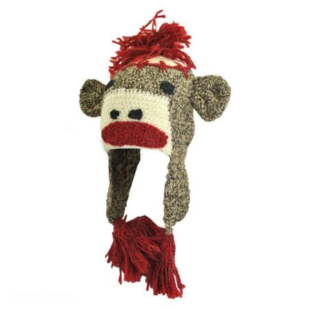 Peruvian Trading Company Sock Monkey Crochet Knit Beanie Hat