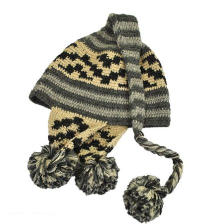 Striped Pixie Crochet Knit Beanie Hat