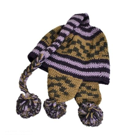 Peruvian Trading Company Striped Pixie Crochet Knit Beanie Hat