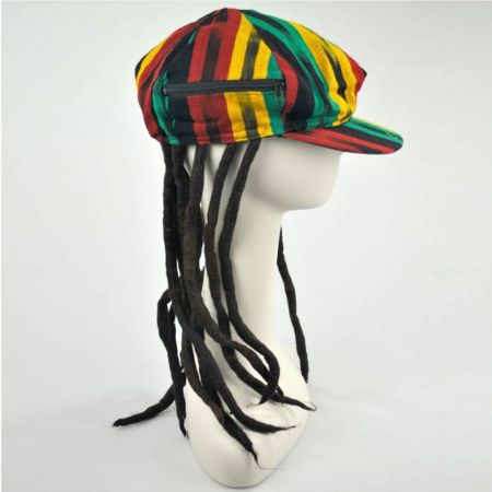 Rasta Imposta Rasta Cotton Newsboy Cap with Dreadlocks