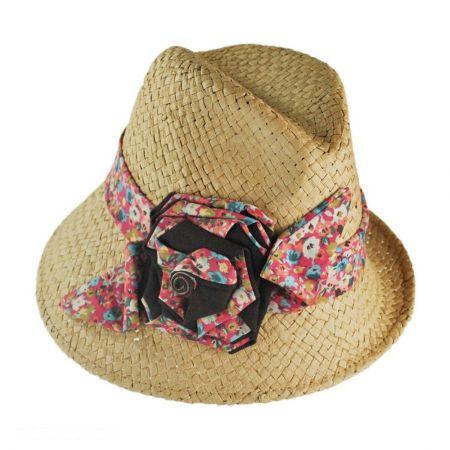 San Diego Hat Company Asymmetrical Brim Straw Fedora Hat
