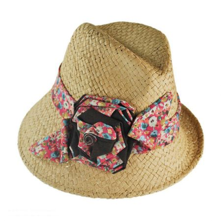 San Diego Hat Co. Asymmetrical Brim Straw Fedora Hat