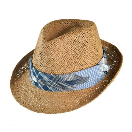 San Diego Hat Company Kid's Plaid Band Toyo Straw Fedora Hat