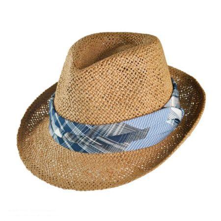 San Diego Hat Company Kid's Plaid Band Toyo Straw Fedora Hat