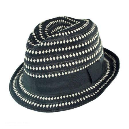 Scala Diamond Ribbon Fabric Fedora Hat