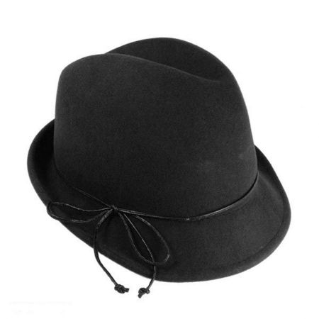 Scala Leather Bow Fedora Hat