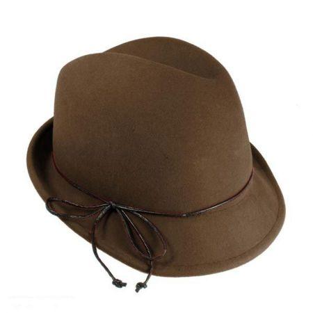 Scala Leather Bow Fedora Hat