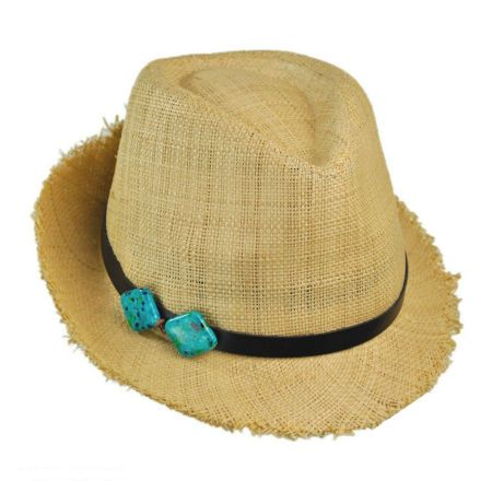 Scala Turquoise Squares Raffia Straw Fedora Hat