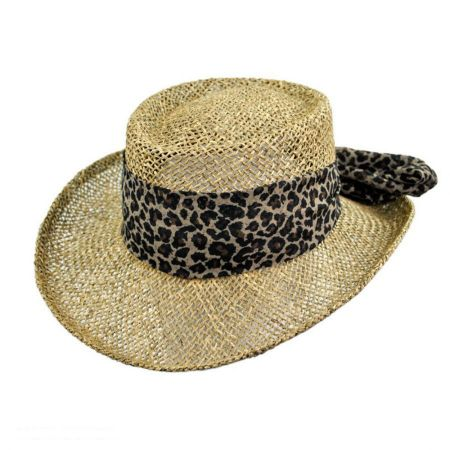 Scala Twisted Seagrass Gambler Hat with Leopard Scarf