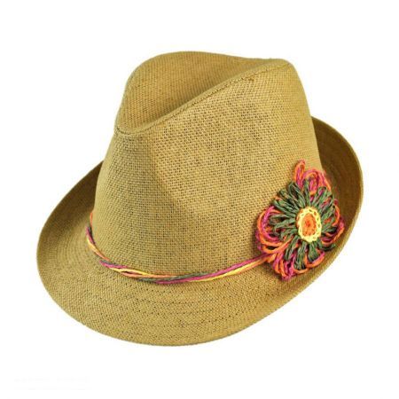 Scala Twisty Flower Toyo Straw Fedora Hat